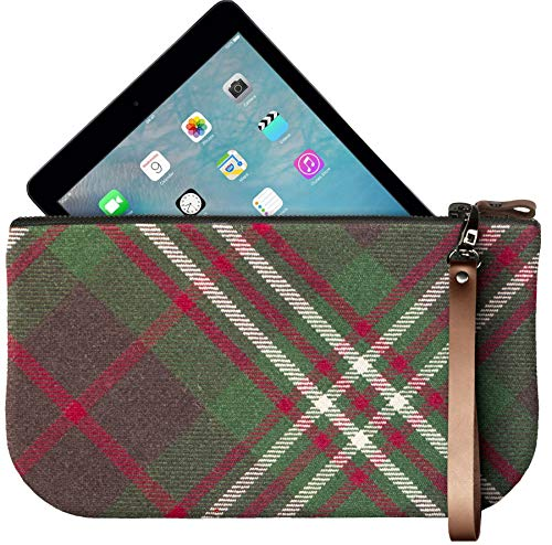 Leather Clutch Mini Enough Tartan Fit Scott with Small iPad to Bag Large 6C5qaFUd