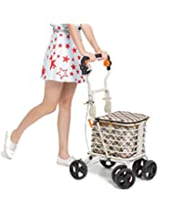 MXXYY Elderly Walker Foldable Portable Trolley 4 Wheel Shopping Cart With Double Brake