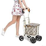 LUCKYYAN Elderly Walker Foldable Portable Trolley 4 Wheel Shopping Cart with Double Brake