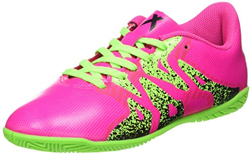 adidas X 15.4 Indoor J, Botas de Fútbol Unisex Niños Rosa (Shock Pink/Solar Green/Core Black)