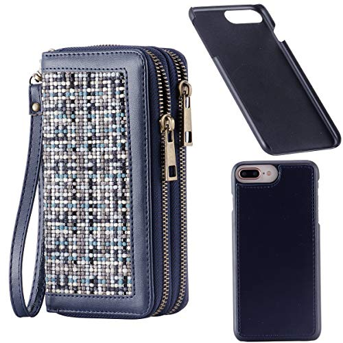 HAWEE Women's Wallet with Wrist Strap Magnetic Phone Case for iPhone 6 Plus /7 Plus /8 Plus 5.5 Inch, Woven Linen Blue ()