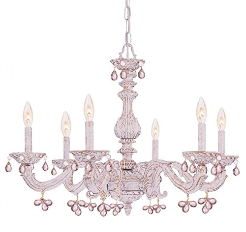 Antique White / Rose Abbie 6 Light Candle Style Chandelier With Murano Crystal Accents