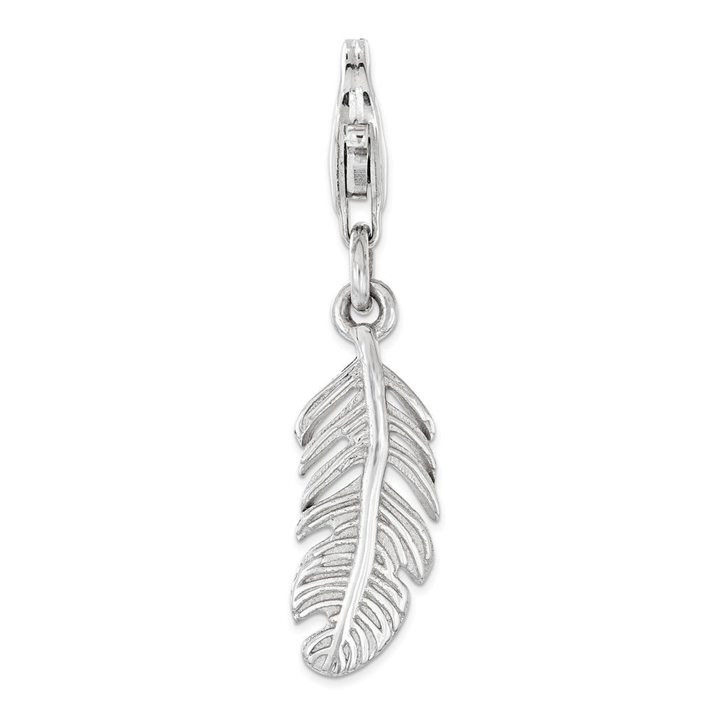 Lex /& Lu Sterling Silver Polished Feather w//Lobster Clasp Charm