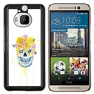 Qstar Arte & diseño plástico duro Fundas Cover Cubre Hard Case Cover para HTC One M9Plus M9+ M9 Plus (Cráneo floral Rose)