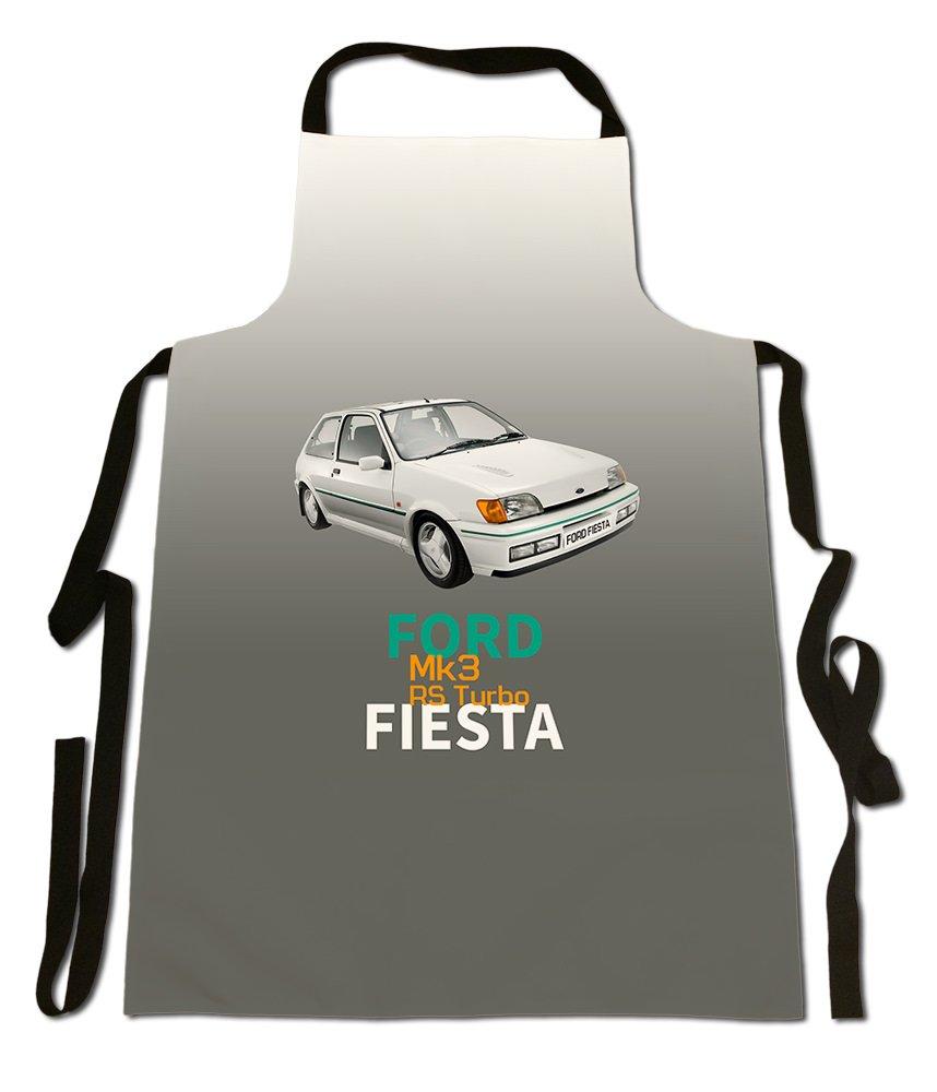 Ford Fiesta MK3 RS Turbo, COCHE clásico diseño moderno estilo, buena calidad - Delantal de lona, tamaño 35 en x 25 en aproximadamente: Amazon.es: Jardín