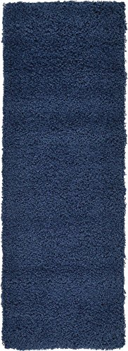 Unique Loom Solo Solid Shag Collection Modern Plush Navy Blue Runner Rug (2' 2 x 6' 5) from Unique Loom