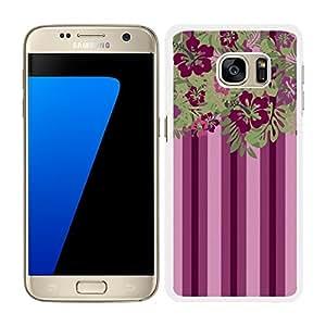 funda carcasa para Samsung Galaxy S7 etsampado flores rosa fucsia y verde borde blanco