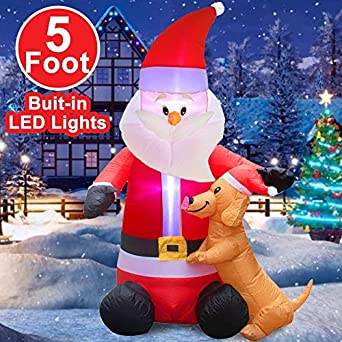 Amazon.com: Inflables de Navidad de 5 pies, con luces LED ...