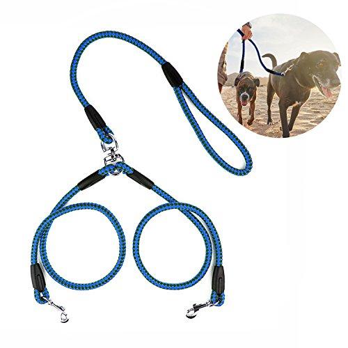 Poppypet Doppelleine Hundeleine, Kupplung Premium Qualität für 2 Hunde, Komfort Hundeleine führen Splitter, Double Leinen Blau L