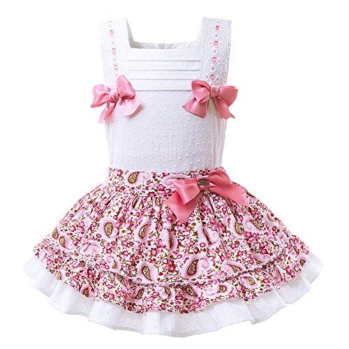 con Dobladillo Bautizo Vestido Lajinirr flare Floral Vestido Handmake Volantes Niñas y bajo con de de Headma qtzYt