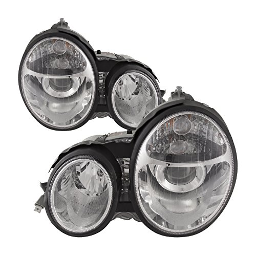 Projector Mercedes Headlights (Headlights Depot Replacement for Mercedes-Benz Mercedes Benz E-Class New Chrome Projector Halogen-Type Headlights Set)