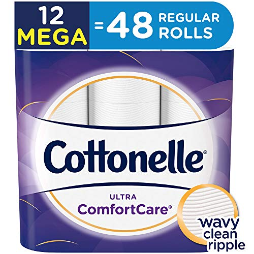 Cottonelle Ultra ComfortCare Toilet Paper, Soft Bath Tissue, Septic-Safe, 12 Mega Rolls ()