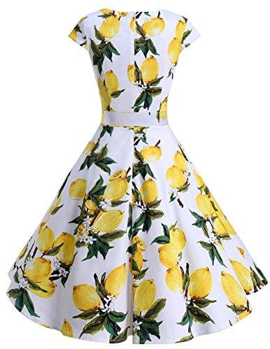 de 50 Robe Version Citron Manches Dresstells 0 Annes Style Vintage 6 Courtes Cocktail Rtro 1950's Soire Ypq7AF