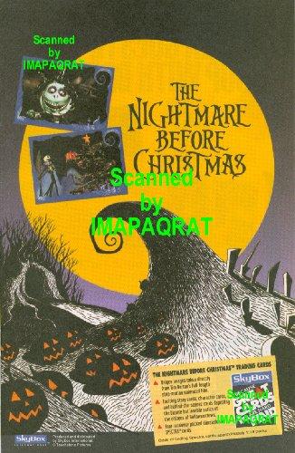 The Nightmare Before Christmas, 1993, Movie Trading Cards Print Ad: Orange Full Moon & Pumpkins; Tim Burton's; (The Nightmare Before Halloween Full Movie)