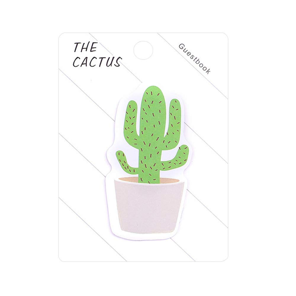 Cactus Sticky Note Self-Stick Note Pad Recyclable Memo Pad Cute Notes Memo Sticker Portable Paper Notes Students Stationery for School Home Office Use 1PC (B)