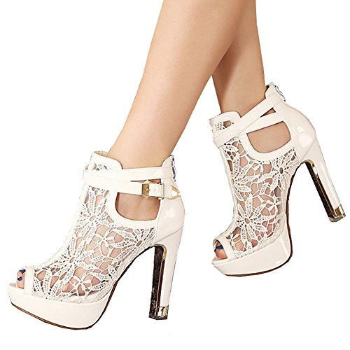 d3712180a1f Getmorebeauty Women s Pretty Lace Flowers Open Toes High Heels Ankle Boots