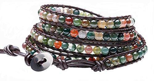 Genuine Leather India Agate Bracelet Bangle Cuff Rhinestone Crystal Bead 3 & 5 Wrap Adjustable (5 wrap india (3 Rhinestone Bangles)