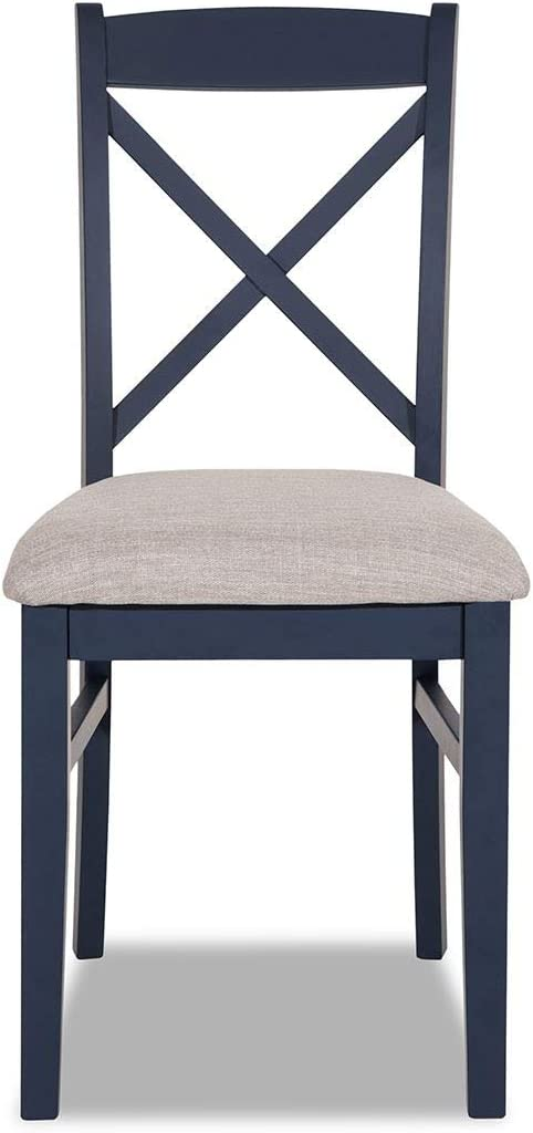 Florence Cross back upholstered kitchen chair. Navy blue dining chair with firm upholstered cushion seat Navy Blue