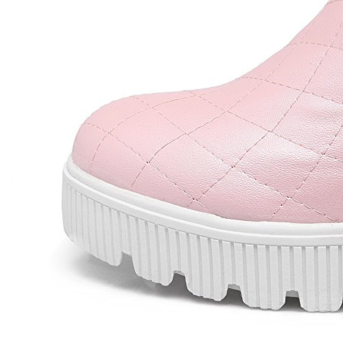 Caña Media Tacón Rosa Material Mujeres Redonda Medio Botas Sólido Suave AllhqFashion Puntera qC8w0T0