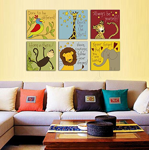 ttart Canvas Painting 6 Pieces Modern Cartoon Animal Quotes Wall Pictures For Kids Bedroom Baby Room Wall Decor Prints Art Frameless (10x10inchx6pcs, No Frame)