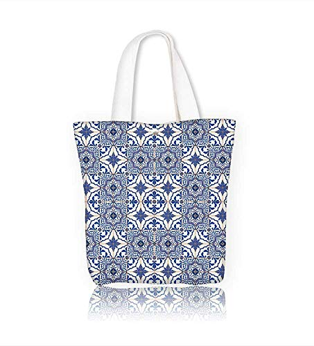 Ladies canvas tote bag Gorgeous seamless patchwork from dark blue and white Moroccan Portuguese tiles ornaments reusable shopping bag zipper handbag Print Design W14xH15.7xD4.7 INCH ()