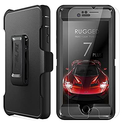 iPhone 7 Plus Case,MBLAI Glass Screen Protection+Heavy Duty Defense Case 4 Layers Rugged Rubber Shock Absorbent Drop Proof with Belt-Clip Holder Case Cover for iPhone 7 Plus[5.5 inch],Black by MBLAI