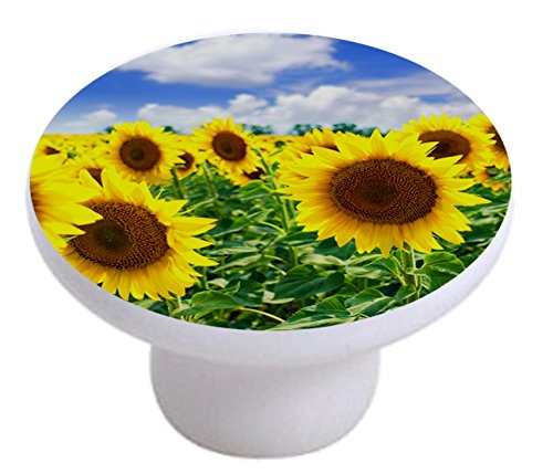 - Carolina Hardware and Decor 2184 Sunflowers in Field Ceramic Cabinet Drawer Knob