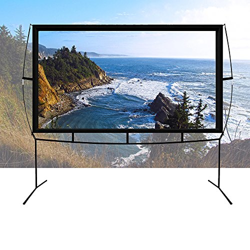 Portable Projector Screen with Stand, Indoor and Outdoor Movie Screen 100'' Diagonal 16:9 with Wrinkle-Free Design (Easy to Clean, 1.1 Gain, 160° Viewing Angle and Includes a Carry Bag) by Blina (Image #2)