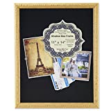 Lawrence Frames Black Linen Display Area Shadow Box Frame with Decorative Classic Design, 11 x 14'', Gold