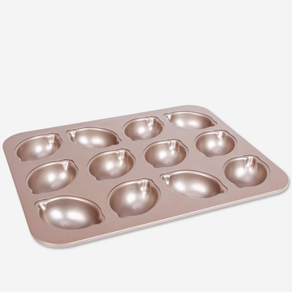 Chenteshangmao Kitchen Utensils Baking Tools, Lemon Cake Baking Tray Easy To Unmold Oven Mold, Gold Carbon Steel (32.5 X 25.8 X 3.2cm) Characteristic mold