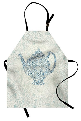 (Lunarable Mandala Apron, Mandala Teapot in Vintage Style with Floral Background Ornate Lace Leaf Pattern Art, Unisex Kitchen Bib Apron with Adjustable Neck for Cooking Baking Gardening, White Blue)