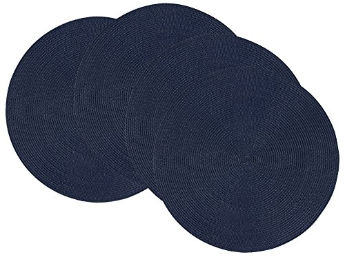 Now Designs Disko Round Placemats, Set of Four, Indigo Blue
