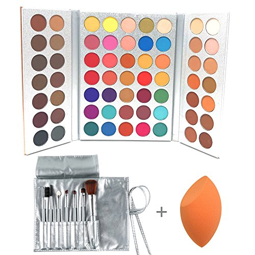 ors Eyeshadow Professional Makeup 63 Colors EyeShadow Palette Powder With Profession Makeup Brushes Set and Powder Blender Gorgeous Me Cosmetics Perfect Color Eye Shadow Tray Set ()