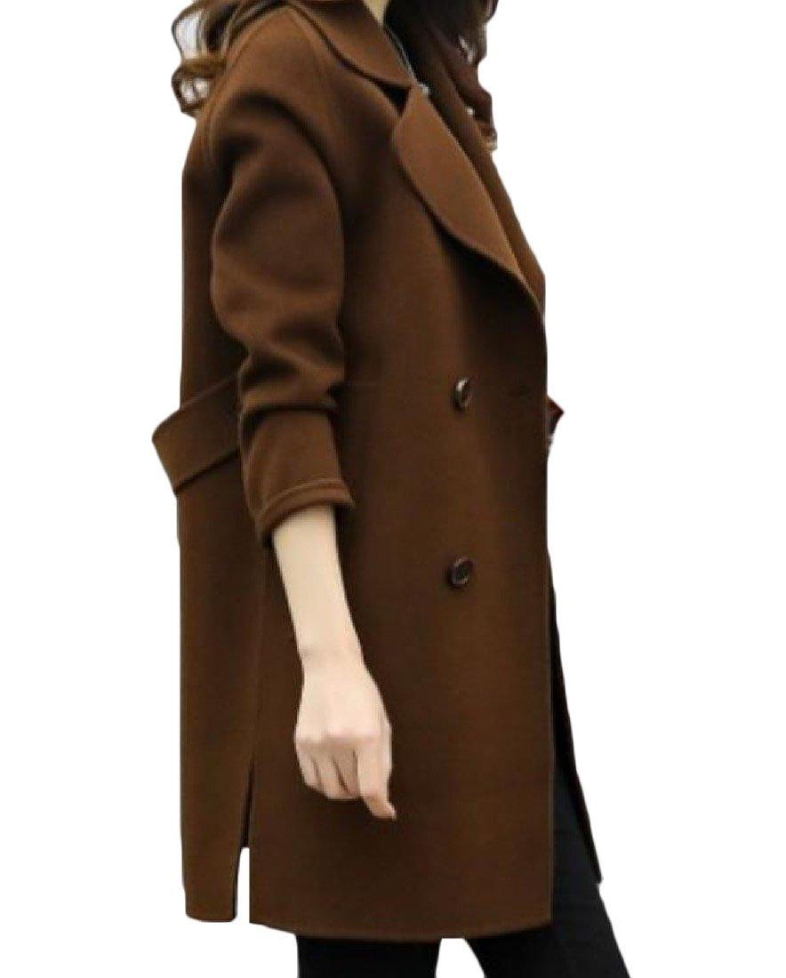 Tootless Women Double-breasted Long Sleeve Korean Style Lapel Woolen Coat Coffee L