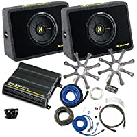 Kicker Bass package - Two 10 CompS in ported truck boxes with CX600.1 amplifier, wiring kit, grilles, and bass knob.