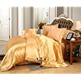 Selection Bedding Comfort Silk Sheet 7-Piece Set Comes with 1 Flat Sheet 1 Fitted Sheet 1 Duvet Cover & Four Pillowcases Elegant & Luxury Sets -Ultra Soft Hypoallergenic King, Gold