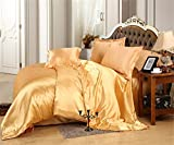 MOONLIGHT BEDDING Luxurious Ultra Soft Silky Satin (1 Comforter Cover, 2 Pillowcases & 1 Fitted Sheet) 4-Piece Duvet Cover Set with Fitted Sheet Twin, Gold