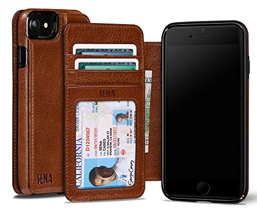 Sena Heritage Walletbook, Drop safe leather wallet book case for the iPhone 8 & 7 - Cognac