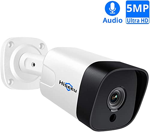 5MP PoE Camera with Audio,Hisee Outdoor Indoor Security IP Camera Wired , 18Pcs IR LED Night Vision Surveillance Camera, IP66 Waterproof Motion Detection H.265 ONVIF Protocol