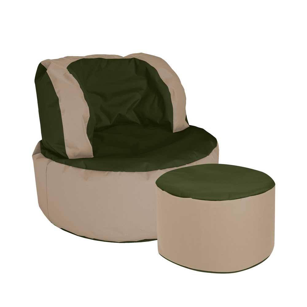 Pharao24 Sessel als Sitzsack Grün Beige Tiefe 135 cm mit Fußhocker Ja