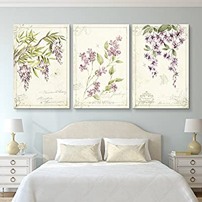 3 Panel Vintage Style Purple Flowers x 3 Panels 36