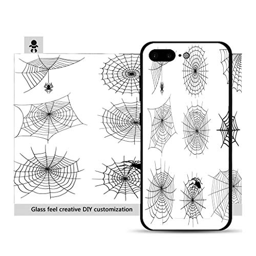 iPhone 7p / 8p Ultra-Thin Phone case Spiders Vector Web Silhouette Spooky Spider Nature Halloween Element Cobweb Decoration Fear Resistance to Falling, Non-Slip, Soft, Convenient Protective case]()