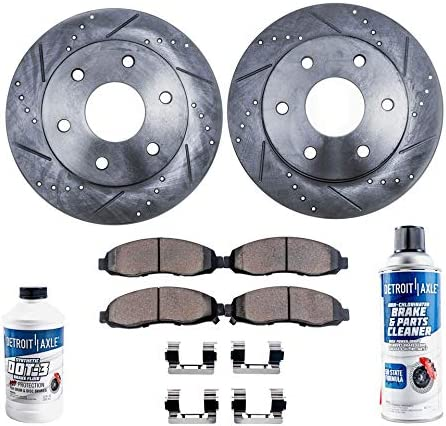 Pair - 2007-2015 Tacoma Detroit Axle 2005-2014 FJ Cruiser 2 319mm Front Drilled and Slotted Disc Brake Kit Rotors w//Ceramic Pads w//Hardware for 2003-2009 Toyota 4Runner NON-SPORT -