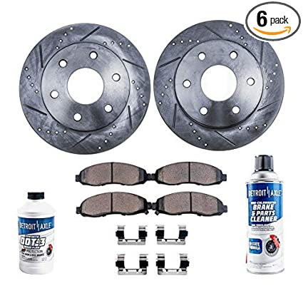 Detroit Axle - Pair (2) Front Drilled and Slotted Brake Rotors w/Ceramic  Pads w/Hardware & Brake Cleaner & Fluid for 04-05 Buick Rainer - [04-08  Isuzu