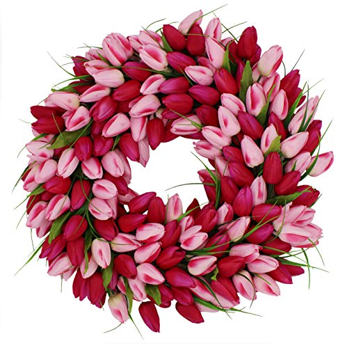 The Wreath Depot Pink Medley Tulip Wreath, 19 inch -