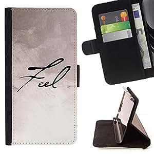 For HTC Desire 626 626w 626d 626g 626G dual sim Case , Siéntase Papel de escritura Caligrafía- la tarjeta de Crédito Slots PU Funda de cuero Monedero caso cubierta de piel