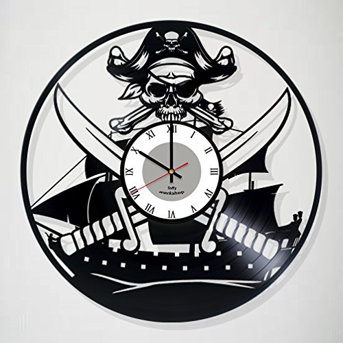 PIRATE Decor Vinyl Record Wall Clock - Exciting guestroom decor - perfect gift idea for children, adults, men and women - Pirate Decorations Unique Art (Childrens Pirate Costume Ideas)