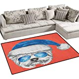 Yorkie,Floor Mat,Terrier with a Blue Santa Hat and Mirror Aviator Glasses Fun Hand Drawn Animal,Small Rug Carpet,Coral White Blue Size:55''x63''