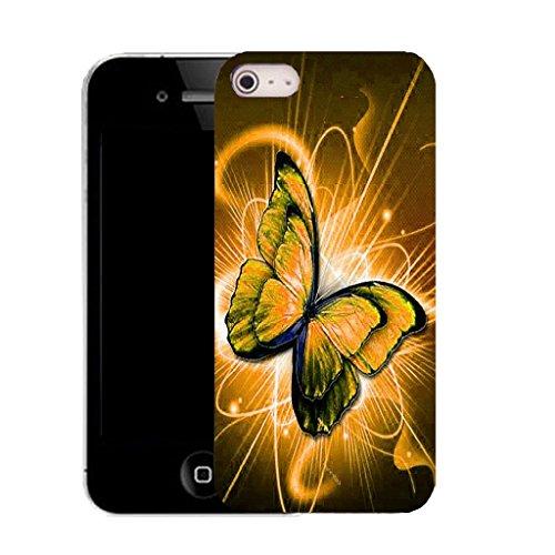 Mobile Case Mate iPhone 5c clip on Dur Coque couverture case cover avec Stylet - ORANGE TWIRL BUTTERFLY Motif