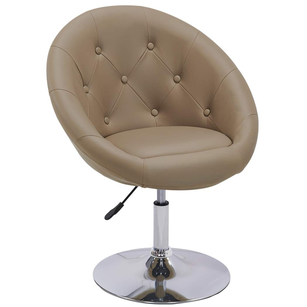 Amazon com duhome elegant contemporary vanity accent lounge chair tufted round back adjustable swivel cocktail chair synthetic leather wy 509a khaki